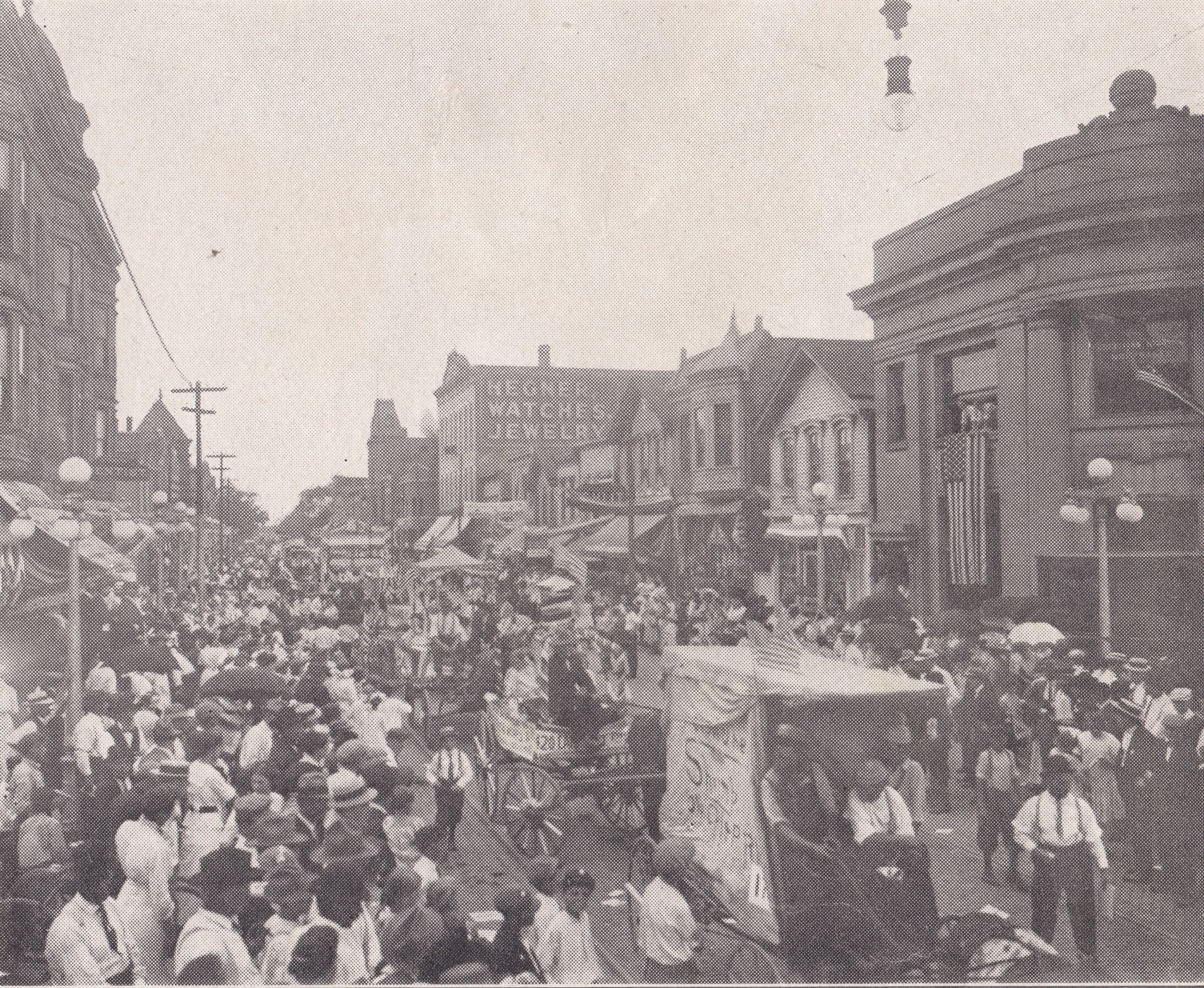 Blue Island Day Parade, 1912, with the new bank building shown in the upper right corner.
