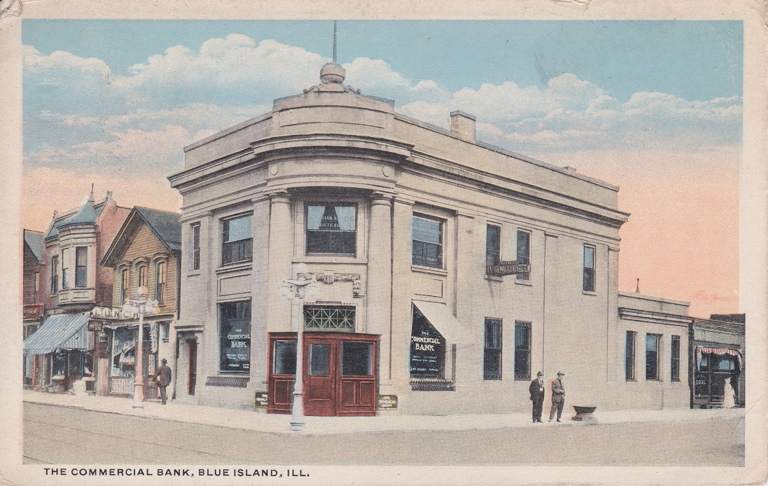 This postcard image of Commercial Bank has been featured in bank calendars and made available in canvas through Blue Island Historical Society.