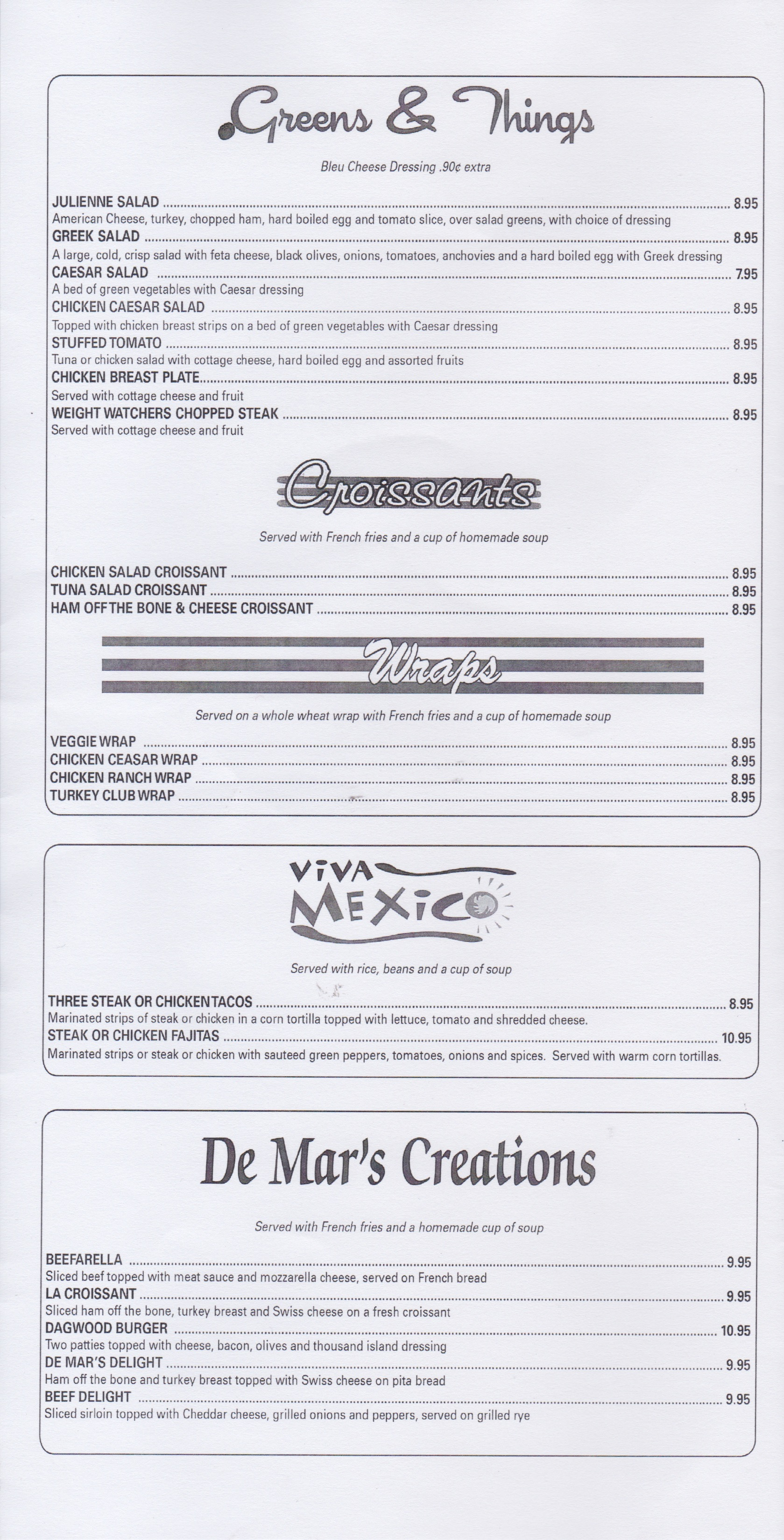 Demars Menu page 1