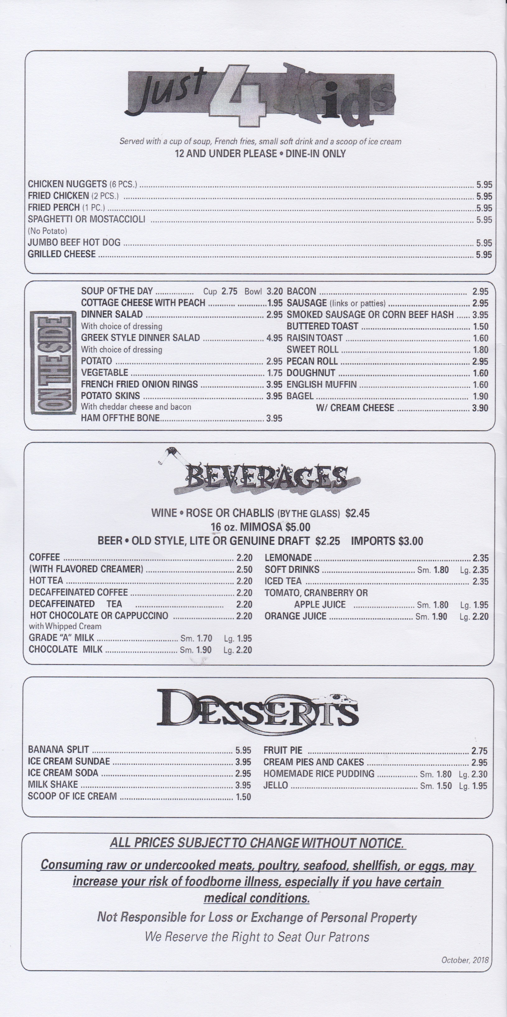 Demars menu page 5