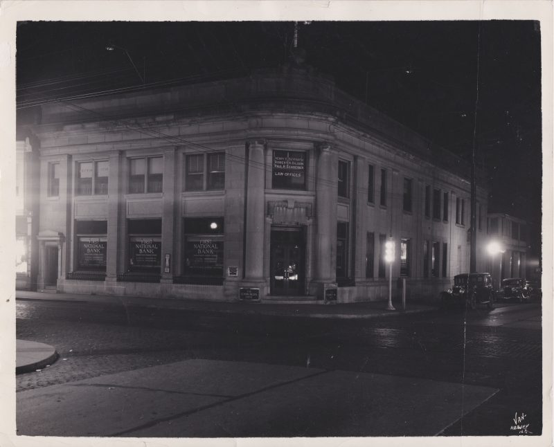 The building shortly before newly installed lights were illuminated.