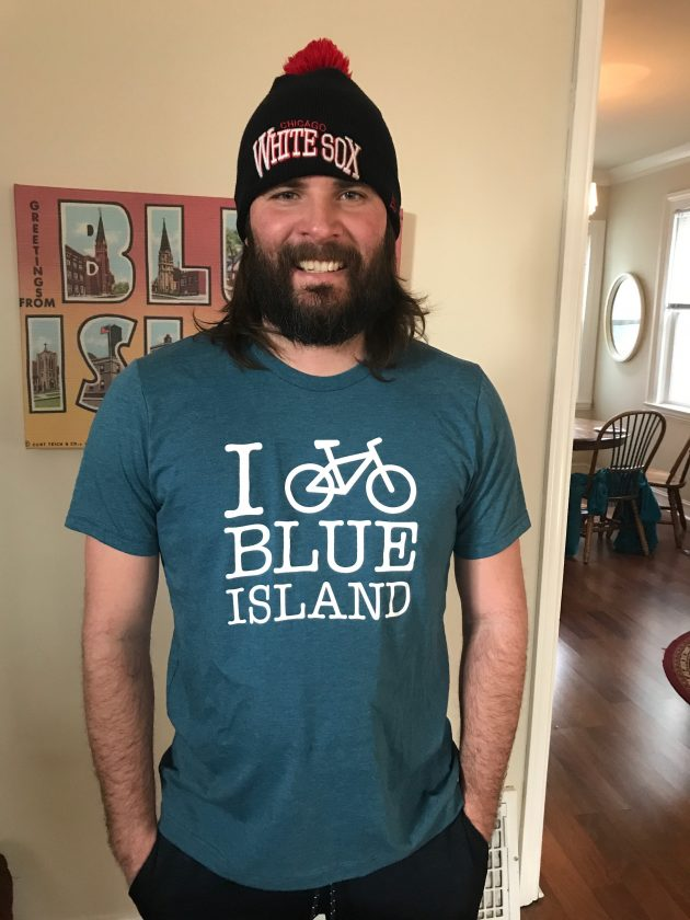 I bike blue island model wearing shirt