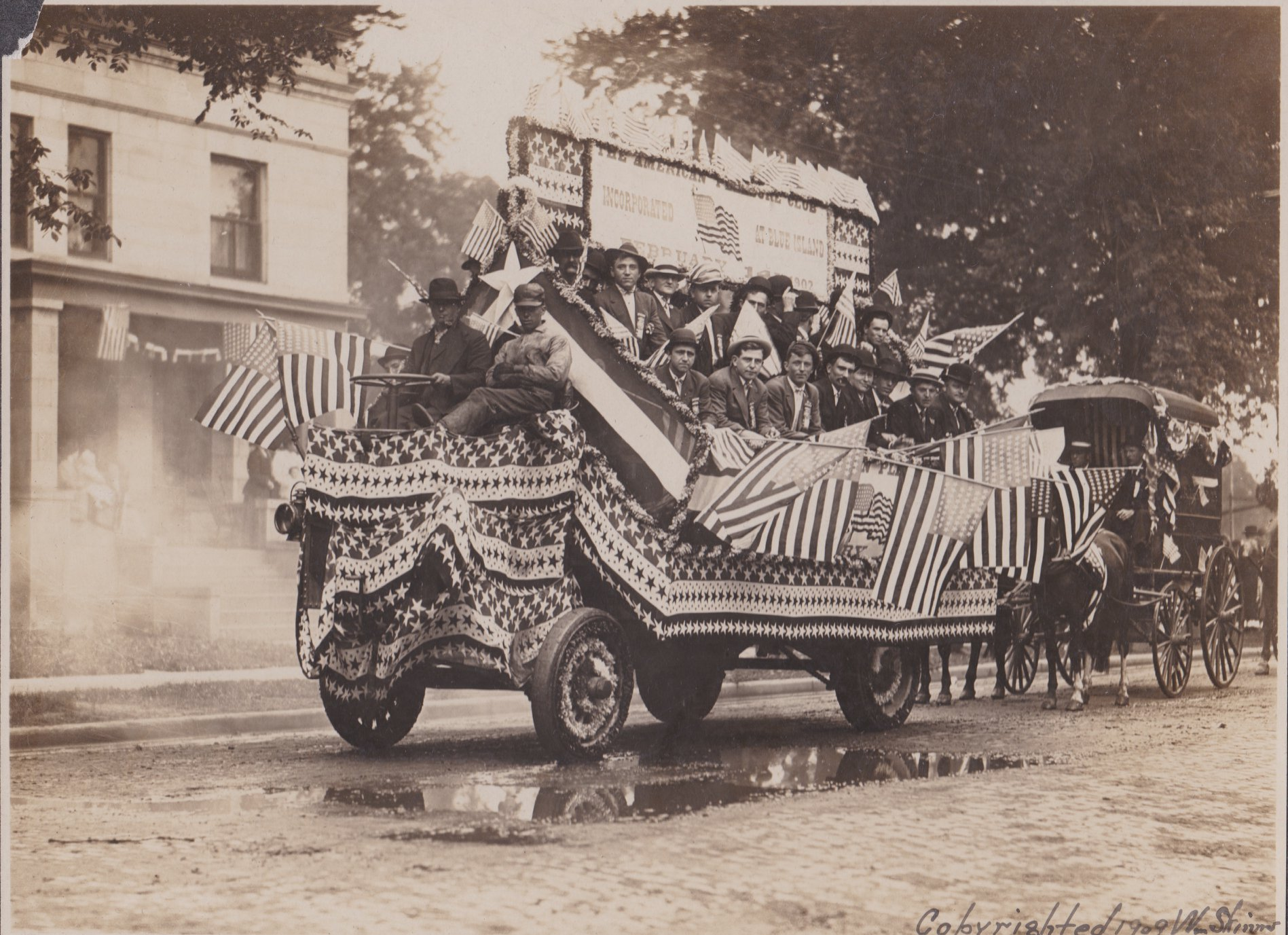 blue island parade float july 4 1909
