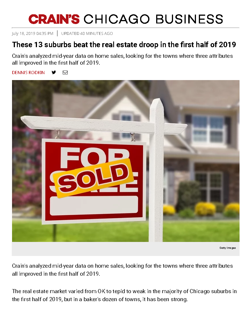 Crain's Chicago Top Suburban Real Estate Markets 2019
