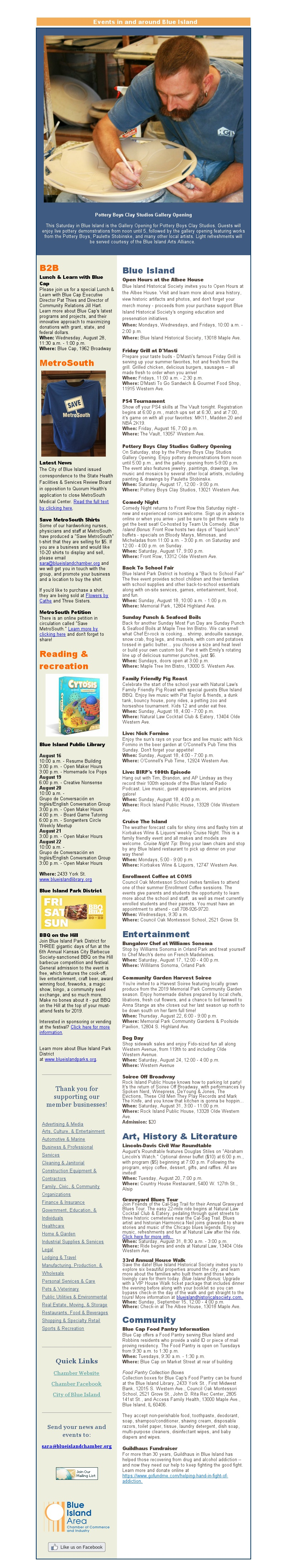 news and events in blue island