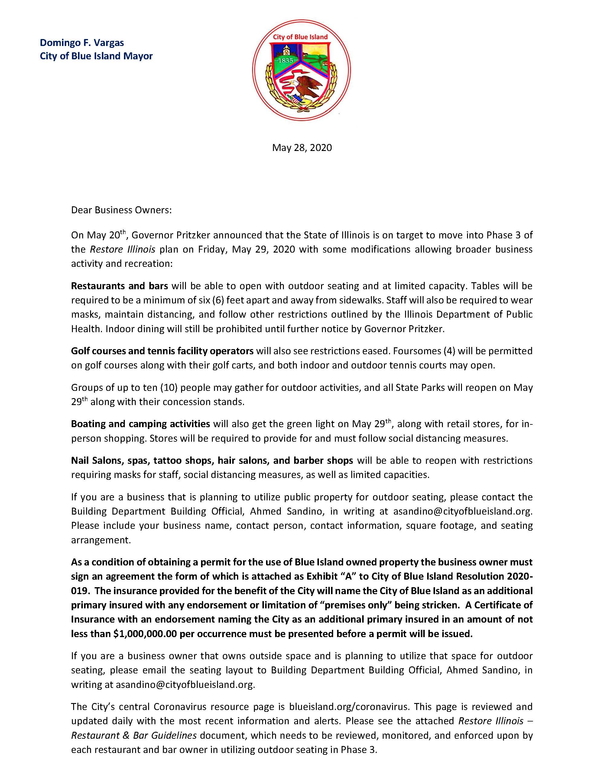 letter to businesses about reopeing in phase 3